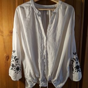 Aerie Embroidered Sleeve Blouse